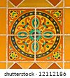 Colorful spanish painted tiles with interesting designs - stock photo