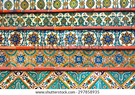 Colorful Spanish tiles decoration on stairway.background texture - stock photo