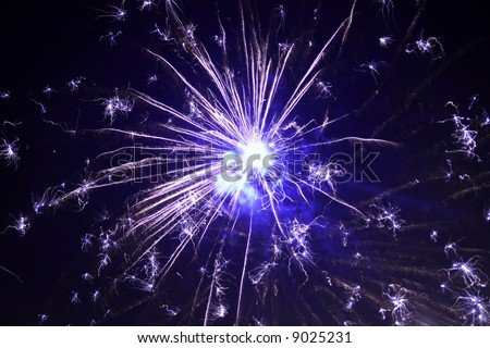 colorful sparkling fireworks in the sky - stock photo