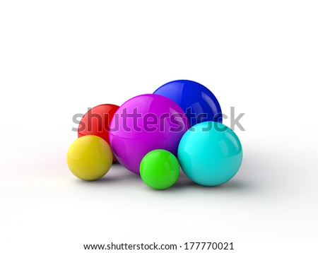 Colorful spheres with different sizes over white background