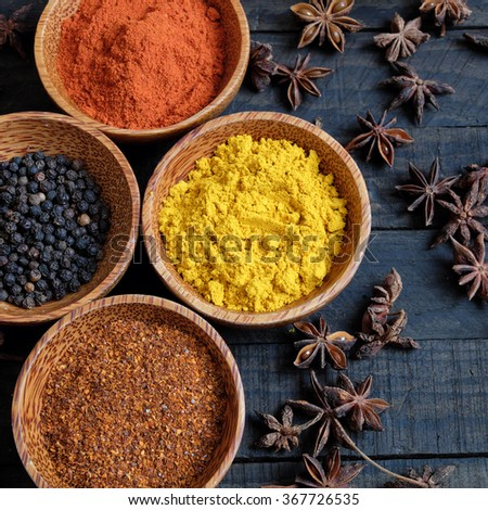Colorful spice for food, with natural color and make aromatic flavor, cashew, chilli, pepper, turmeric powder, star anise, cinnamon in ingredient spice for healthy food and are agriculture product - stock photo