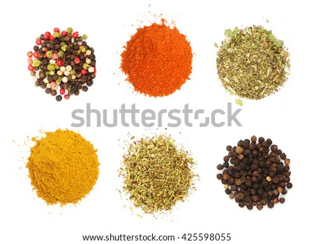 Colorful spices and herbs for cooking background