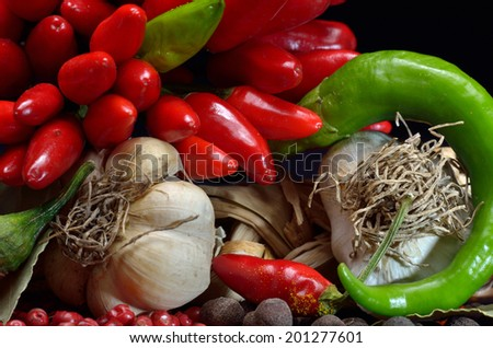 colorful spices and vegetables
