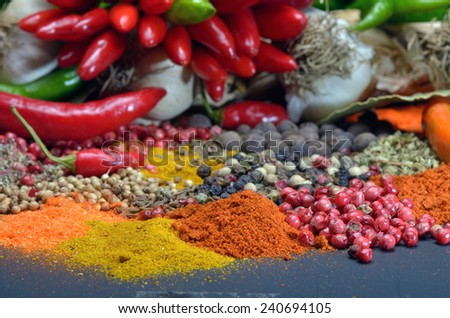 colorful spices and vegetables close up - stock photo