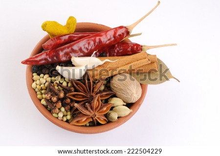 Colorful spices for garam masala indian,ingredients for garam masala , indian spice mix - stock photo
