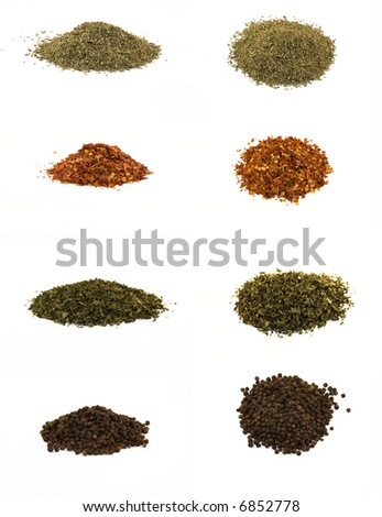 Colorful spices,isolated on white background - stock photo