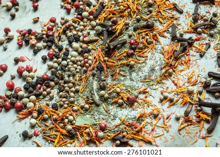 Colorful spices on a table/selective focus - stock photo