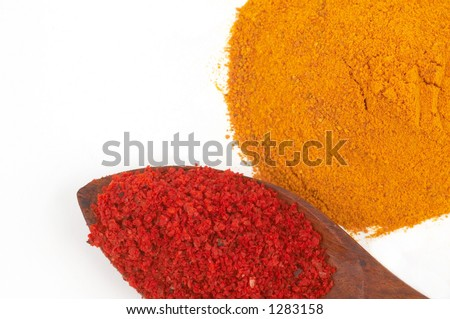 colorful spices on white, space for messages