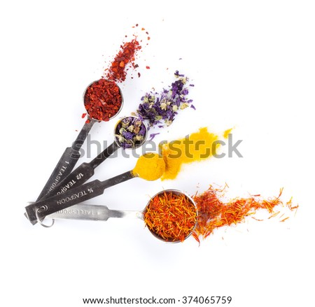 Colorful spices set. Isolated on white background