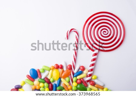 Colorful spiral lollipop - stock photo