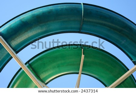 Colorful spiral of water slide - stock photo