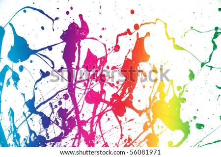 colorful splash of paint isolated - stock photo