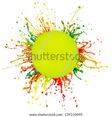 colorful splash with sport ball on white background
