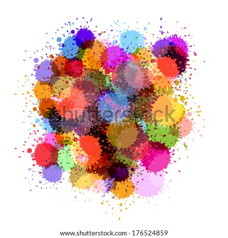 Colorful Splashes Abstract Background  - stock photo