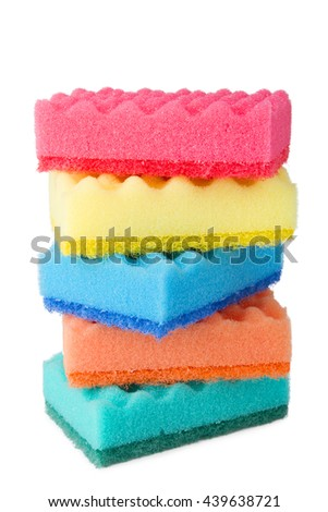 Colorful sponges for washing dishes isolated on white background
