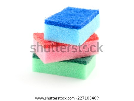colorful sponges isolated on white - stock photo