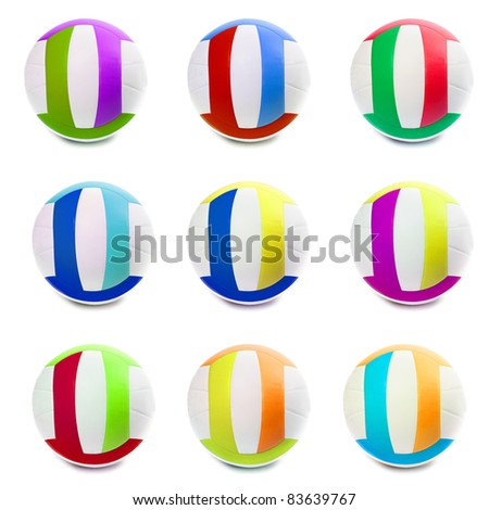 Colorful Sports Balls color in different countries. Isolated on white. - stock photo