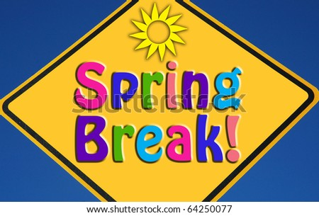 Spring Break Clip Art Colorful spring break concept