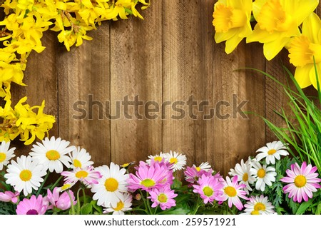 Colorful spring flowers and fresh long grass frame a rustic wooden background, making perfect copyspace for your text - stock photo