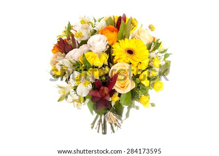 colorful spring flowers bouquet isolated on white background - stock photo