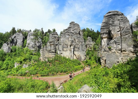 Colorful spring Landscape with Sandstone Rocks in Bohemian Paradise, Czech Republic - stock photo