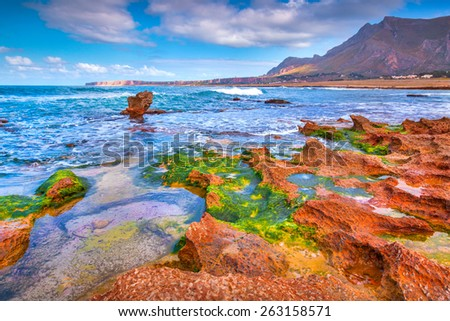 Colorful spring morning of the nature reserve Monte Cofano. San Vito cape location, Tyrrhenian sea. Sicily, Italy, Europe. - stock photo