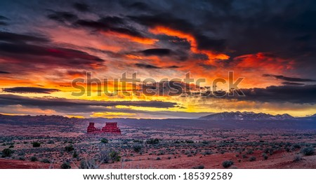 Colorful spring sunrise in Arches National Park, Utah - stock photo