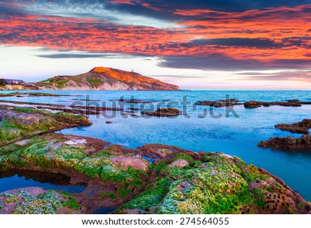 Colorful spring sunset on the Giallonardo beach, Sicily, Italy, Tyrrhenian sea, Europe. - stock photo