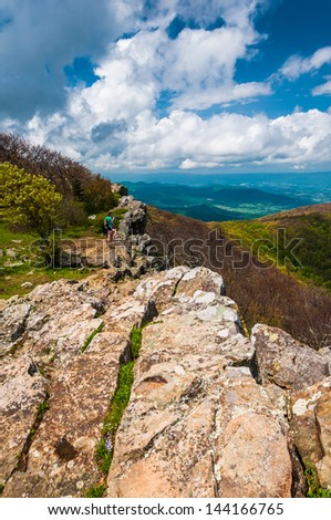 Colorful spring view from Hawksbill Summit, Shenandoah National Park, Virginia. - stock photo