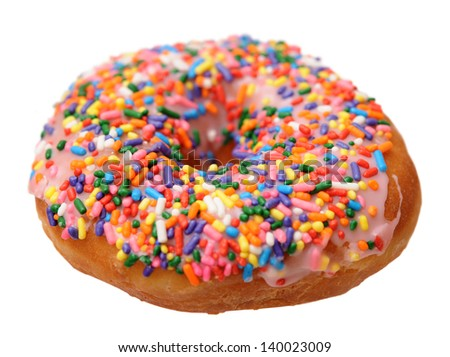 colorful sprinkle donut isolate on white