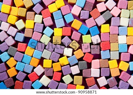 colorful square foam cubes texture for decorative arts - stock photo
