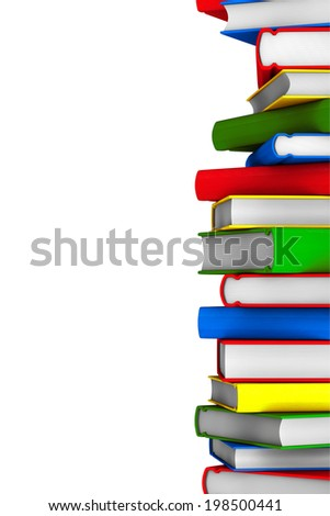 Colorful Stack of books on a white background - stock photo