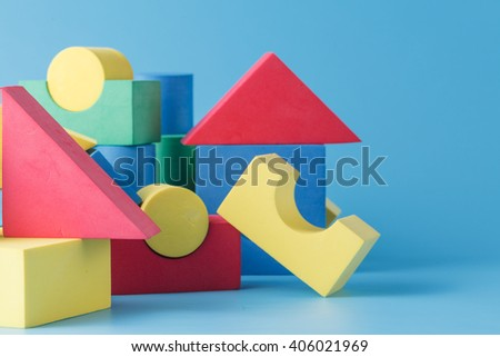 Colorful stack of cube building blocks