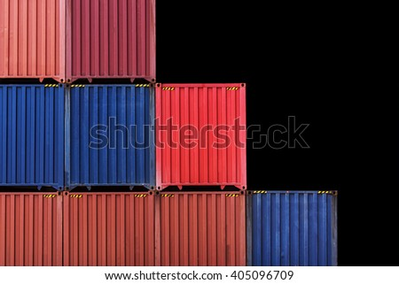 Colorful stack pattern of cargo shipping containers in shipping yard for import,export industrial isolate on black background  - stock photo