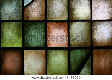 colorful stain glass window - stock photo