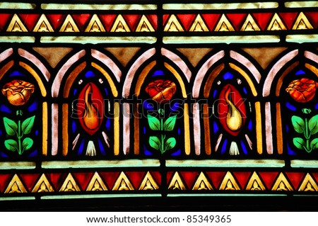 Colorful stained glass window pattern - stock photo