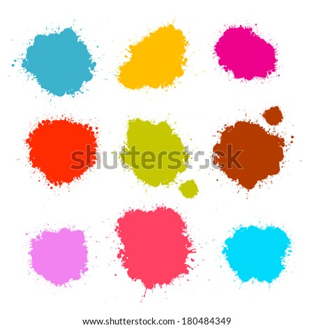 Colorful Stains, Blots, Splashes Set