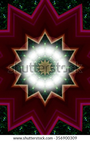 colorful star like polygons on a green and brown background