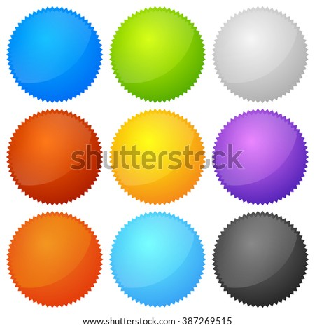 Colorful starburst, badge shapes with empty space.