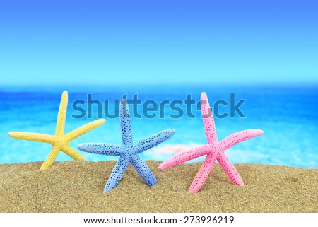 Colorful starfishes on the beach in front of a blue horizon - stock photo