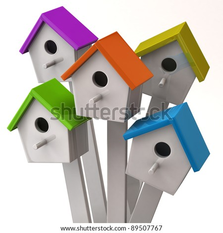 Colorful starling house isolated on white background - stock photo