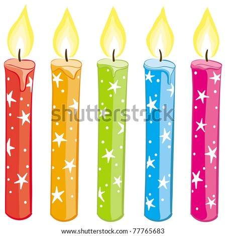 Colorful starry candles set. Gradient free illustration.