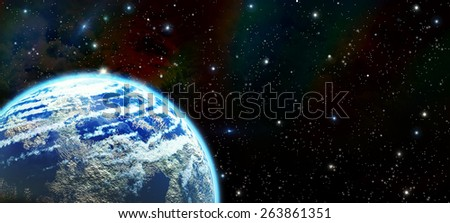 Colorful starry sky with nebula - stock photo