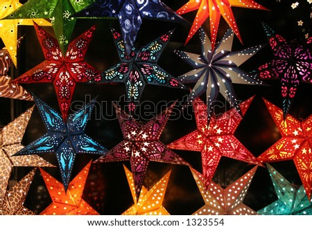 Colorful stars at night. - stock photo