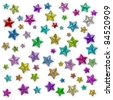 Colorful stars of the different sizes consisting of multi-colored shining gems - stock photo