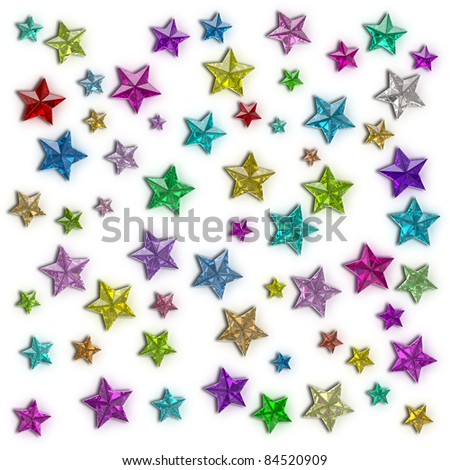 Colorful stars of the different sizes consisting of multi-colored shining gems