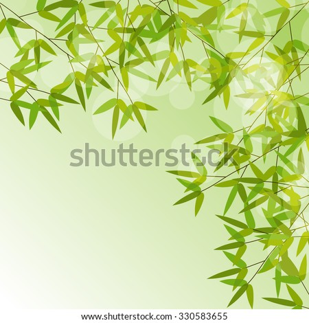 Colorful Stems and Bamboo Leaves Background. Illustration.  - stock photo