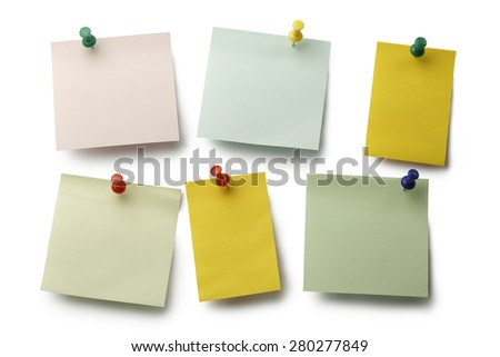 Colorful sticky notes and push pin on white with clipping path. - stock photo
