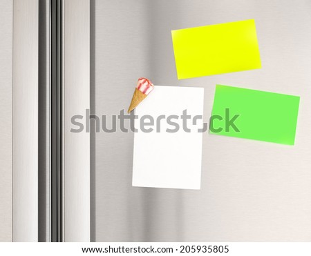 Colorful sticky notes on the fridge at home, abstract domestic background, paper for message, communication concept - stock photo