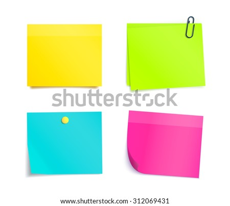 Colorful sticky notes on white background. Memo, paper sheet, notepad pages and elements for attaching. Blank reminder sheet. - stock photo